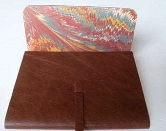 Leather Sketchbook Leather Journal Leather book. Teak Brown Soft Leather with a Traditional English hand made Marbled Paper