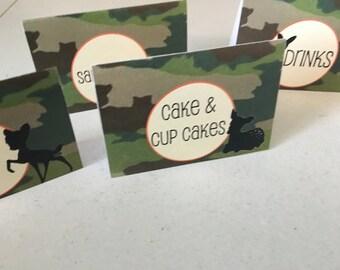 Little Buck Food Tent Cards
