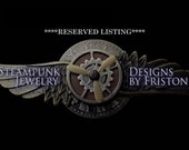 RESERVED for Lauren Catron-Steampunk Hat Pin (P610-2011)-Oxidized Silver Plated Brass Feather-Faux Pocket Watch - Gears - Swarovski Crystals