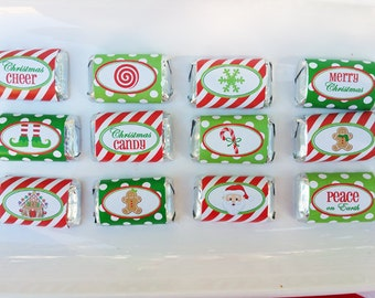 Christmas Mini Candy Wrappers Printable -  Instant Download - Christmas is Here Collection