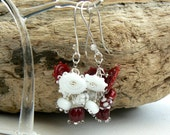 Custom order,Dark red and white earrings