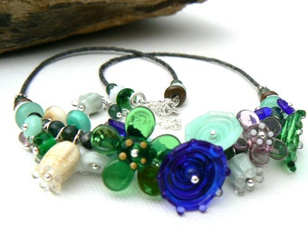 Handmade Flower Necklace,Cluster Lampwork Bead Necklace,Green and Blue Necklace,OOAK