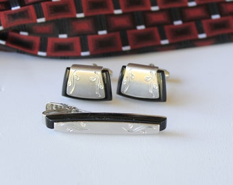 Anson Sterling Silver Cufflinks and Tie Clip Vintage Cufflinks FREE SHIPPING