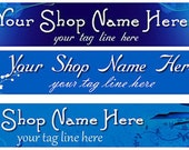 Large Etsy Facebook Cover Photo Ready Made Ready Made Blue Back White Flowers  Sparkle Shop Banner- Pick one