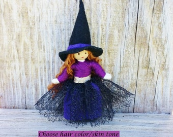 Witch Doll, Halloween Toy, Switch Witch, Halloween Doll, Miniature Witch, Halloween Decor,  Purple, Bendy Doll