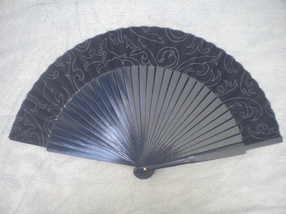 Navy Damask Hand Fan