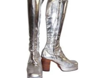 Made to order silver leatehr platfomr boots wooden heels
