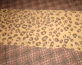 vintage ladies head neck scarf brown gold leopard print oblong