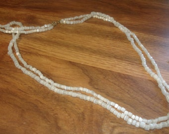 vintage necklace white glass double strand