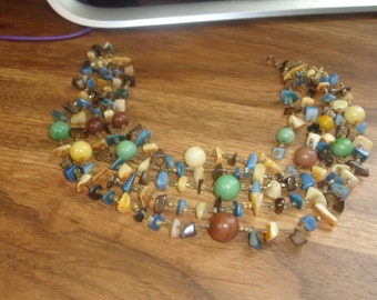 vintage necklace multi strand glass colorful bib