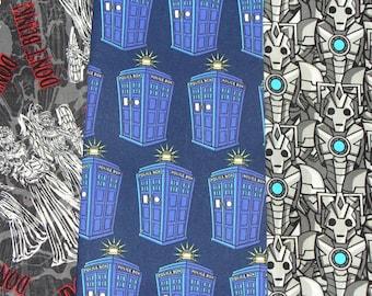 Dr Who Fabrics,  Don't Blink, 3 Fat quarters, Tardis and Cybermen, BBC Series, Police Box