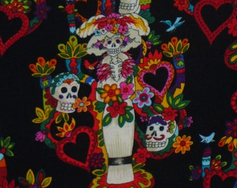 Day of the Dead, Skeletons Fabric, La Vida Fabric, Tree of Life, Alexander Henry, By the Yard