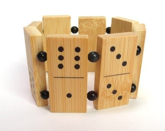 Domino Cuff Style Bracelet Made from Bamboo Wood Dominos, Black Beads