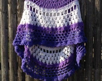 Shades of Purple Crocheted Poncho Asymmetrical Unbalanced Design Handmade