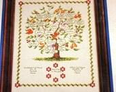 Family Tree Bernat Counted Cross Stitch Embroidery Kit, Vintage 1980s Pattern 25003 Yarn Aida Needle Chart Instructions Complete Sealed NIP
