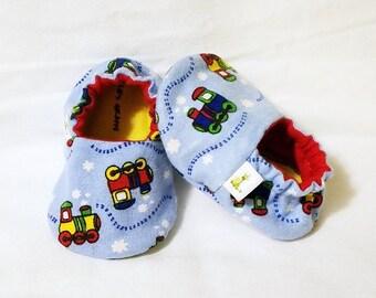 Trains Baby Booties - Choo Choo Booties - Newborn, Infant, Baby Slippers, Crib Shoes, Footwear