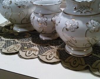 3 Pcs. Vintage Haynes Balt Baltimore Florian Porcelain Pitcher w/ creamer , Sugar White Gold Floral (579