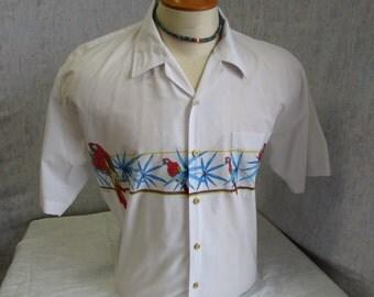 80s XL Windswept Bahamas Mens S/S Shirt White w/ Parrots