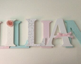 Wooden  letters for nursery in blush pink and robins egg blue