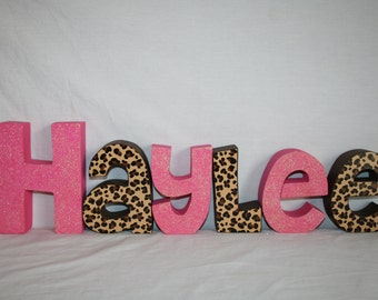 Custom name letters, 12.00 per letter, Wood name letters, Wooden letters, Animal print nursery decor, Cheetah decor, Leopard decor