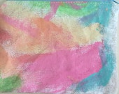 Hand painted fabric sewn and lined zipper pouch in spring pastels peach lime green pink aqua