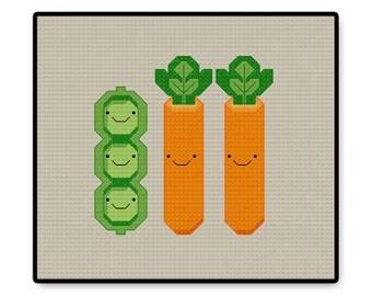 Peas and Carrots Kawaii - Cross Stitch PDF Pattern