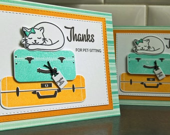 Card for Pet Sitter, Pet Sitting Thank You Card, Cat Sitter Thank You Note, Summer Vacation, Cat Lover Gift