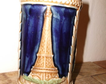 Vintage French Parisian Porcelain Tankard with Eiffel Tower, Notre Dame and Sacre Couer