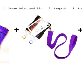 Eszee Twist Tool© twist reference card, , 33 full color page yarn planner PLUS a lanyard and five yarn TRACKER cards.
