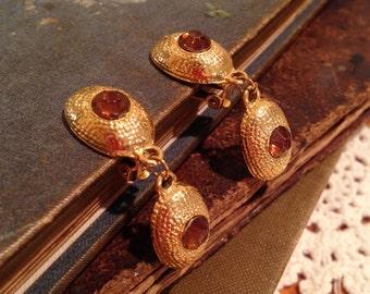 Amber Glass Dangle Clip Earrings