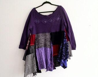 Sale Romantic Sweater Dress. Plus Size UpCycled Bohemian Dress