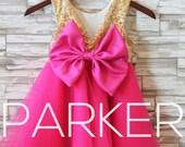 ON SALE! Gold Pink 1st Birthday Tutu Dress, Holiday Dress , Big Bow Dress, Party Dress, Gold Sequin Dress, Hot Pink tutu