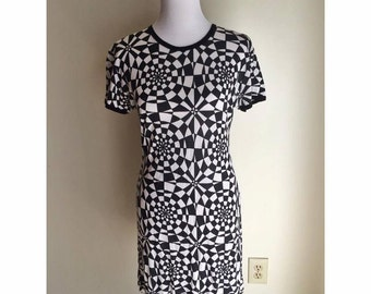 Vintage Black and White Rare Optical Illusion Dress