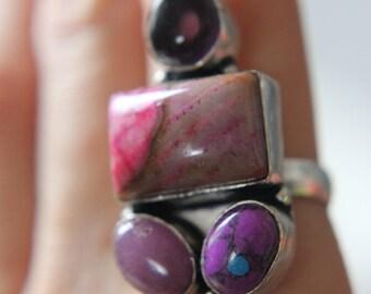 Valentines Sale! Mookaite Jasper, Amethyst and Stichite, hand-hewn silver ring, Valentines Gift