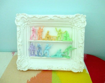 Mini Pastel Army Men Display - Ready to hang in vintage ornate frame