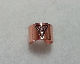 Copper Ear Cuff Celtic Triquetra Symbol
