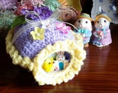 "Ready to ship - Crochet Sugar Easter Eggs Diarama Panoramic Egg Large 5"" X 4"" X 3"" Hand Crocheted"