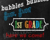 Instant Download!  End of School Year - Bubble Favor Tag in Chalkboard Design - DIY - kinder to 1st grade