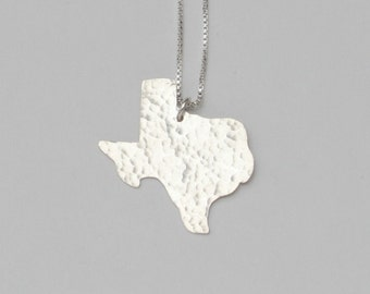 Texas Necklace. Custom Sterling Silver University of Texas Austin Longhorns Cutout Charm with Heart. State of Texas Shaped Pendant.