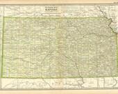 ANTIQUE KANSAS MAP 1897 Century Atlas Page 32 Paper Ephemera Book Plate Art and Collectibles