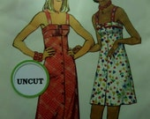 "1973 Button Front Empire Waist Sundress Pattern Simplicity 5618 Miss 10 Bust 32.5"". Mod MINI or MAXI SUNDRESS Pattern at WhiletheCatNaps"