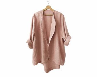 Dusty rose linen jacket for woman, loose fit women's jacket, oversized clothing, linen women's clothing, summer jacket, LHI wear