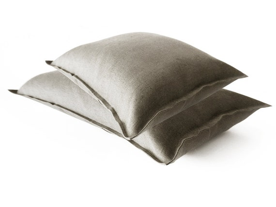 Linen decorative pillow cover Earth grey color lumbar pillow covers or square custom pillows