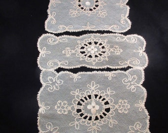 Antique Tambour Lace Doily Set of Three Ecru with white centers