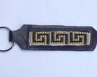 Hand crafted leather beaded key chain- Greek Border