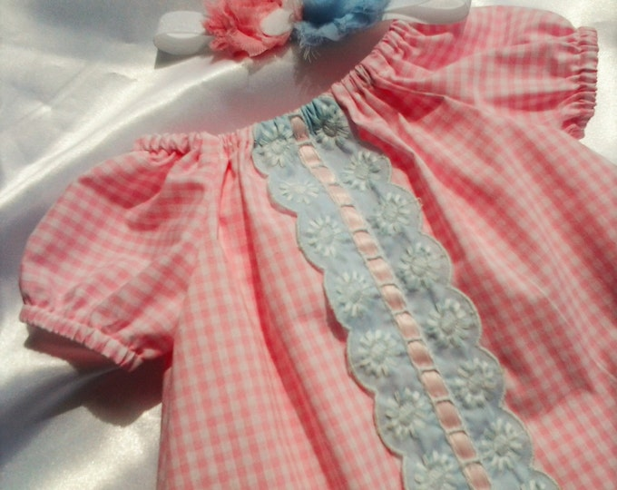 Newborn Baby girl pink peasant dress coming home outfit with matching headband