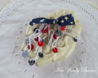 Patriotic, 4th of July, Independence Day, Crochet Button Garland by WeeWoollyBurros