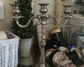 SOLD Vintage Silver Plated 3 Arm Candelabra Candle Sticks