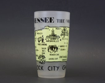 """Vintage Frosted Tennessee """"Rock City Gardens"""" Souvenir Glass (E4542)"""