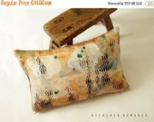 ON SALE Boho Linen & recycled burlap ooak accent throw pillow case..Oblong. mini. .. / ETHNICS Moments
